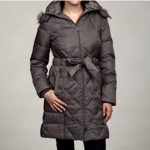 New York Faux-Fur Trim Chevron Down Coat